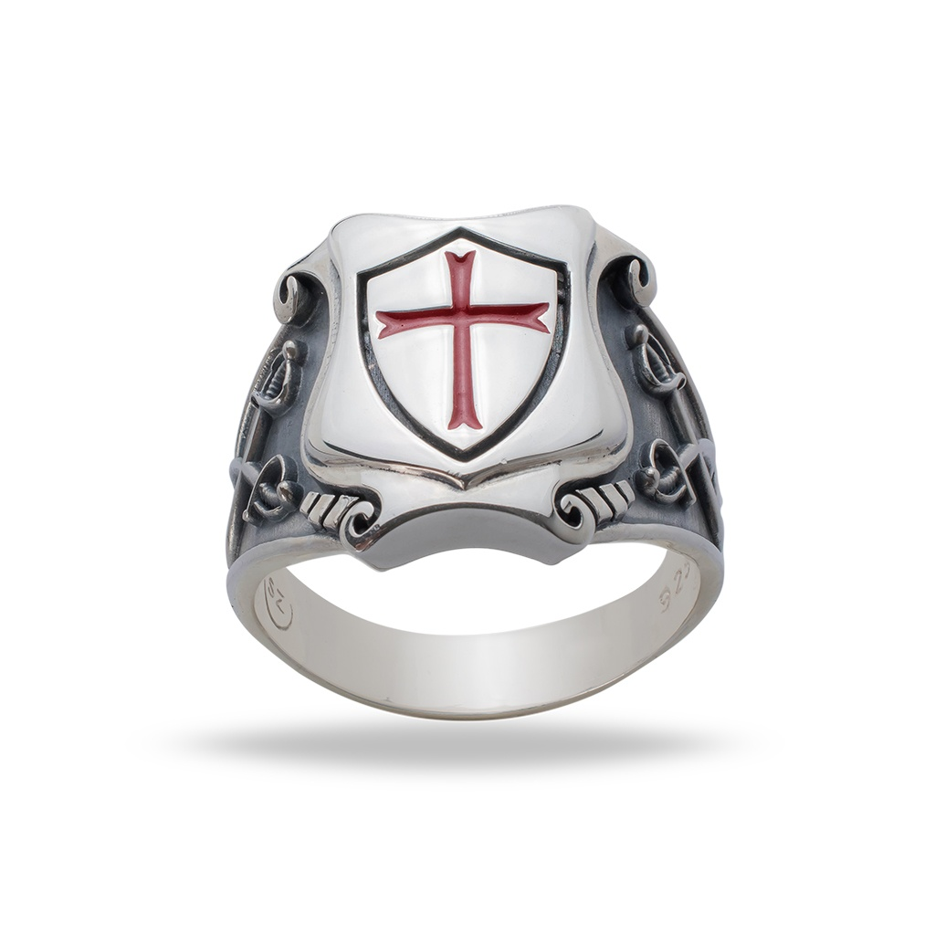 KNIGHTS TEMPLAR RING from STERLING SILVER  925 with RED ENAMEL CROSS  HANDMADE Silverzone77