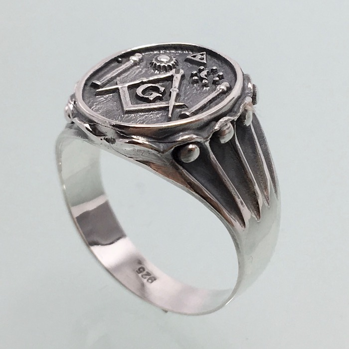 3ca45fca4fd66 New Masonic Ring Pillars Sun Moon All Seeing Eye Handmade Silverzone77
