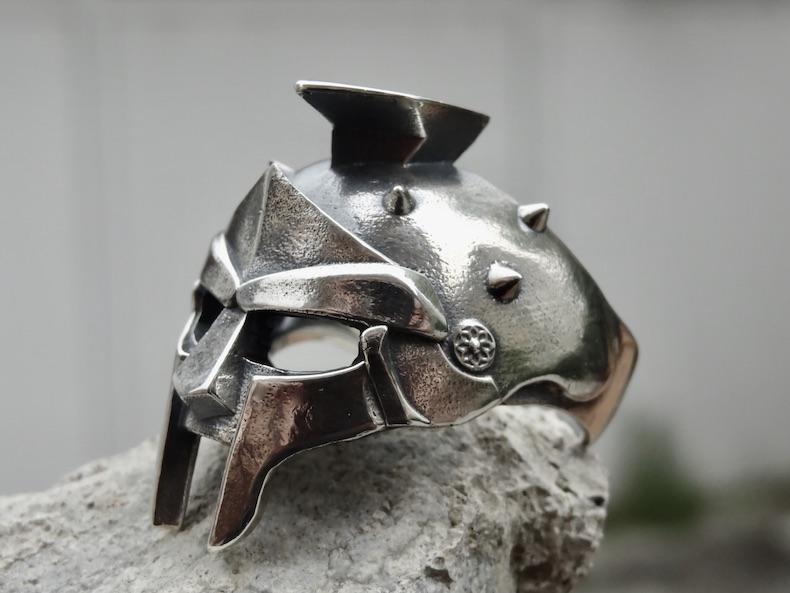 925 Sterlingsilber Spartan Helm Römischer Gladiator Schwarzer Stein Herren Damen